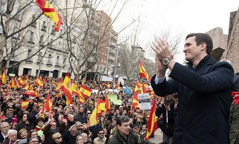 PP-ledaren Pablo Casado vid demonstrationen i Madrid 10 februari.