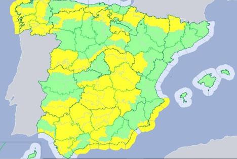 Så kallad gul beredskap är utlyst längs en stor den av den spanska medelhavskusten. Foto: Aemet