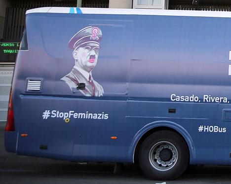 Den ultrakatolska stiftelsen Hazte Oír jämför feminister med Hitler. Foto: Hazte Oír