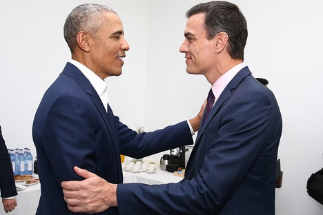 Barack Obama och Pedro Sanchez i Sevilla 3 april.