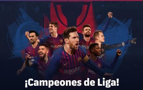 Den åttonde ligatiteln på de senaste elva säsongerna säkrades med tre omgångar kvar att spela. Foto: F.C. Barcelona