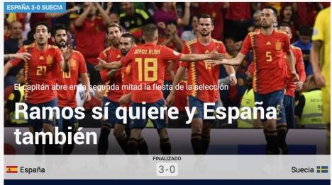 Spanska sporttidningen Marca framhäver på sin hemsida den spanska lagkaptenen Sergio Ramos roll i segern över Sverige i EM-kvalet.