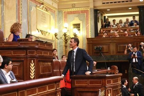 Pedro Sánchez är mycket kritisk mot Unidas Podemos, vars röster förhindrat en vänsterregering i Spanien.