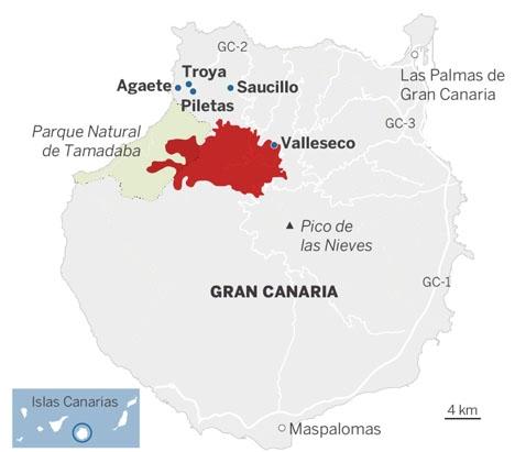 Branden omfattar en stor del av bergsområdena på nordvästra Gran Canaria. Karta: Educación Forestal (Copenicus Academy)