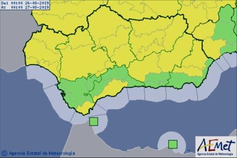 Gul beredskap för regnskurar gäller under tolv timmar från och med midnatt längs större delen av kusten i Málagaprovinsen.