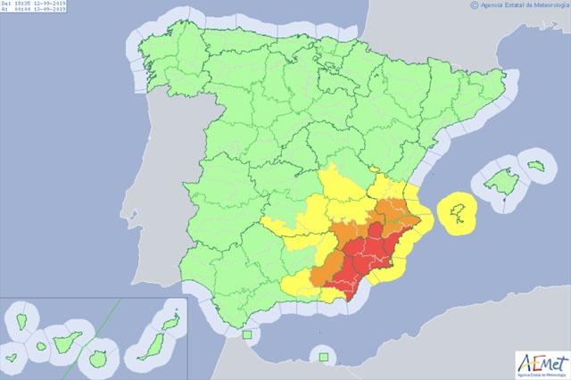 Till och med fredag kväll råder extrem fara för översvämningar främst i Murcia- och Alicanteprovinsen. Foto: Aemet