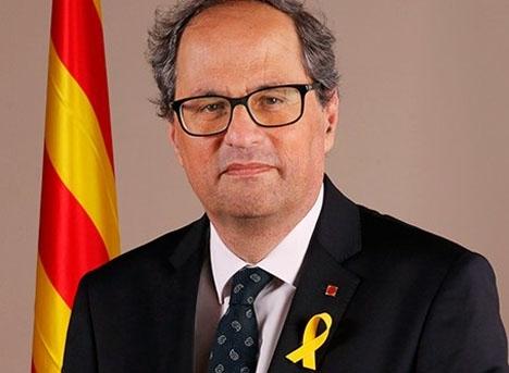 Den katalanske regionalpresidenten Quim Torra anklagar Spanien för att vilja svartmåla separatisterna, men fördömer samtidigt ej planerade våldsdåd. Foto: Generalitat de Catalunya