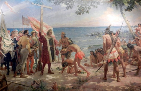 Tavla i Museo Naval i Madrid som skildrar Columbus landstigning i Amerika.