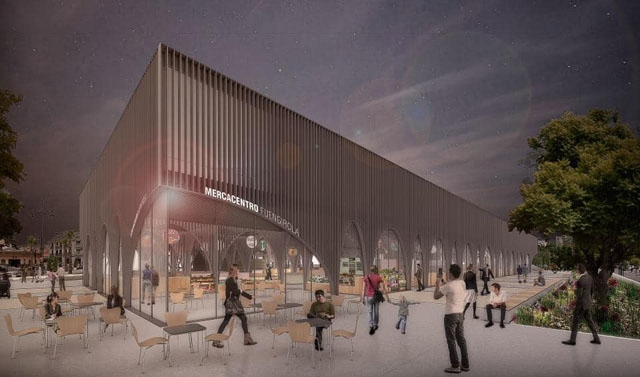 Den planerade saluhallen mittemot tågstationen ska ha ett helt annat utseende än den nuvarande, bristfälliga lokalen. Foto: Ayto de Fuengirola