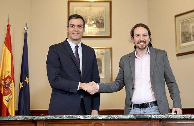 Koalitionsavtalet mellan PSOE och Unidas Podemos undertecknades i parlamentet mindre än två dygn efter nyvalet.