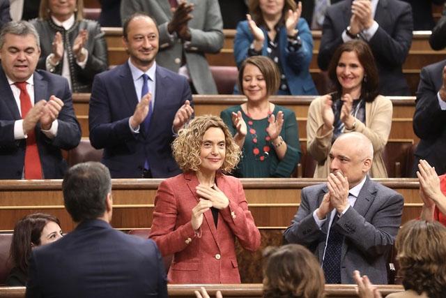 Meritxell Batet blev som väntat omvald som talman i parlamentet. Foto: PSOE