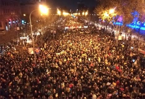 Demonstranterna fyllde den centrala avenyn La Castellana i Madrid. Foto: Pedro Armestre/ @greenpeace_esp