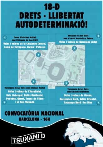 Tsunami Democrátic har sammankallat till bojkotten och markerar ut tillfarterna till Camp Nou som ska blockeras.