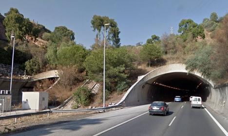 Olyckan inträffade natten till 18 december i tunneln riktning Marbella. Foto: Google Maps