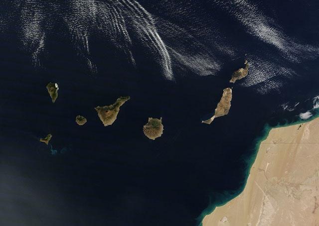 Kanarieöarna befinner sig endast tio kilometer från den marockanska västkusten. Foto: NASA Goddard Space Flight Center/Wikimedia Commons