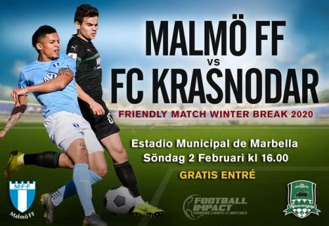 Den första vänskapsmatchen är mötet mellan Malmö FF och ryska FC Krasnodar i Marbella 2 februari.