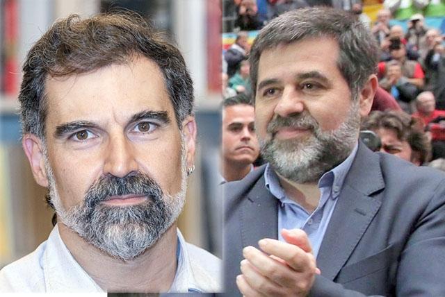 Jordi Cuixart och Jordi Sánchez har dömts till nio års fängelse vardera för sin inblandning i den ensidiga katalanska självständighetsförklaringen.