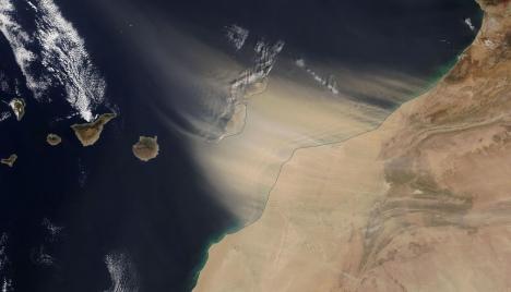 Sandstormar från Afrika kallas i Spanien för