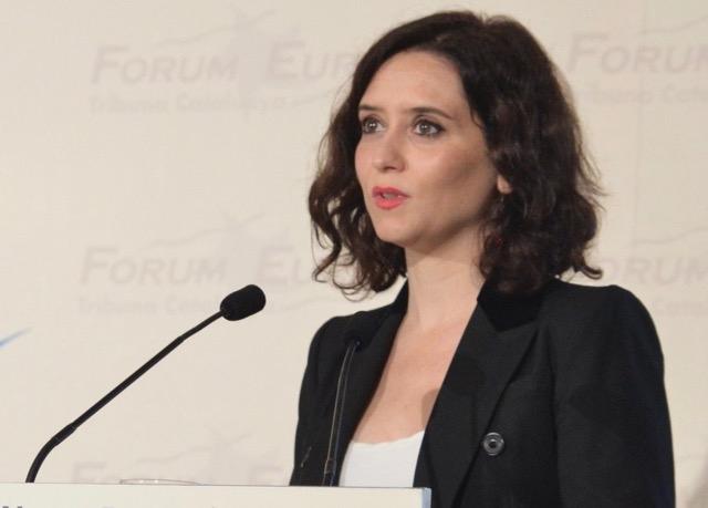 Regionalpresidenten i Madrid Isabel Díaz Ayuso (PP) annonserade på måndagskvällen stängningen av samtliga skolor i Madrid från och med 11 mars. Foto: Comunidad de Madrid