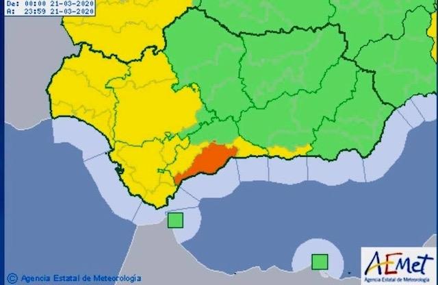 Risken för omfattande regnskurar gäller större delen av västra Málagaprovinsen. Bild: Aemet