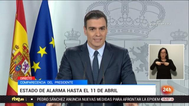 För andra gången på mindre än ett dygn talade Pedro Sánchez till det spanska folket, för att annonsera en skärpning av larmsituationen. Foto: RTVE