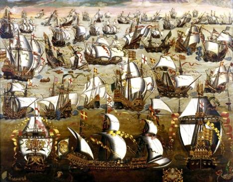 Englands historiska seger över den oövervinnerliga spanska armadan visar sig vara fejkade nyheter, enligt en brittisk dokumentär. Engelsk 1500-tals målning av okänd konstnär.