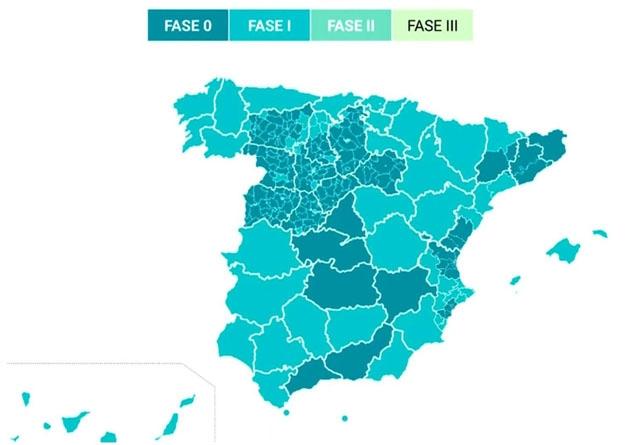 De mörka områdena på kartan blir kvar i fas 0, inkluderat hela Málagaprovinsen.