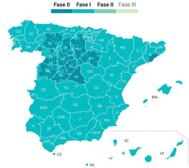 Från och med 18 maj kommer 70 procent av Spaniens befolkning att befinna sig i Fas 1, medan fyra öar går in i Fas 2.
