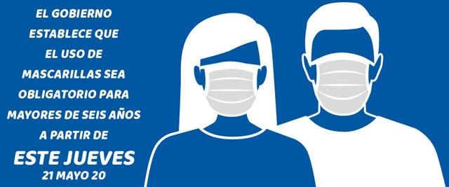 Från och med 21 maj är det påbud på munskydd från sex års ålder, om man ej kan hålla säkerhetsavstånd till andra.