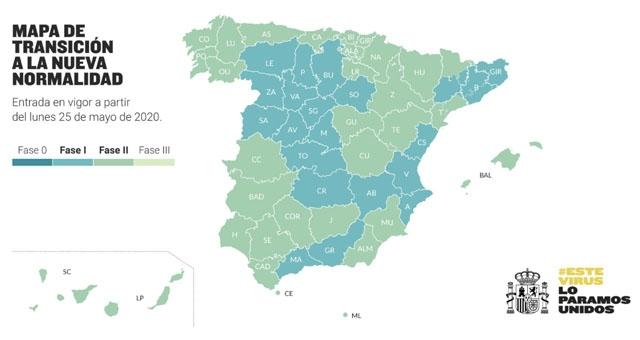 Måndag 25 maj kommer 47 procent av befolkningen att gå in i Fas 2, medan övriga Spanien kommer att befinna sig i Fas 1.