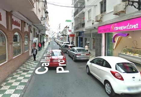 Calle Diputación leder mot Balcón de Europa, i Nerja. Foto: Google Maps