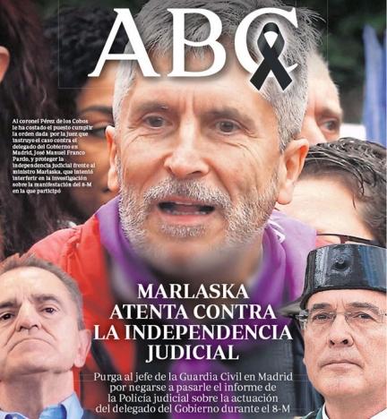 Omslag av tidningen ABC 26 maj, där inrikesministern uppges genomföra ett