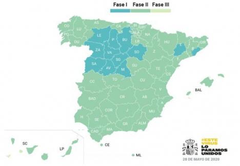 Sammanlagt 35 miljoner innevånare i Spanien kommer att befinnas sig i Fas 2 från och med 1 juni.