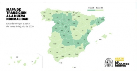 De ljusa områdena på kartan kommer alla att befinna sig i Fas 3 från och med 8 juni.