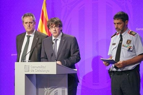 Den dåvarande chefen för den katalanska regionalpolisen Josep Lluís Trapero (t. h.) hösten 2017. Foto: Generalitat de Catalunya/Wikimedia Commons
