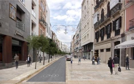 Ombyggnationen av gatorna Carretería och Älamos i gamla stan i Málaga, är ett av projekten som riskerar förlora sitt EU-stöd om det inte påbörjas inom kort. Foto: Ayuntamiento de Málaga