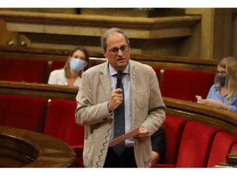 Kataloniens regionalpresident Quim Torra annonserar allmänt påbud på munskydd, oavsett säkerhetsavstånd. Foto: Generalitat de Catalunya