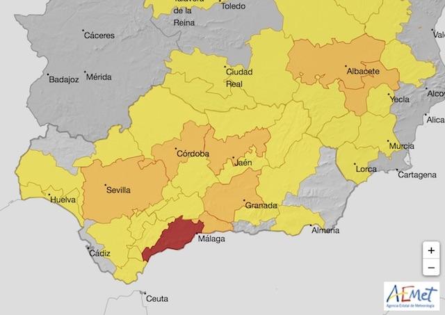 I Málaga stad väntas idag upp till 42 grader i skuggan. Karta: Aemet