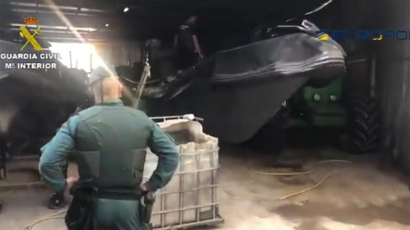 Guardia Civil hittade bland annat en torrdocka i utkanten av Algeciras, där ligan förvarade sina båtar. Foto: Guardia Civil
