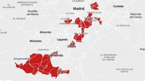 Det är främst de fattigare södra förorterna till Madrid som har högst smittfrekvens och där det nu införs strängare restriktioner. Karta: Comunidad de Madrid