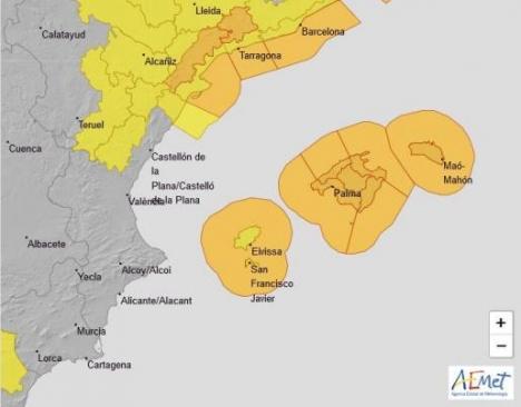 Beredskapen omfattar alla öar. Karta: Aemet
