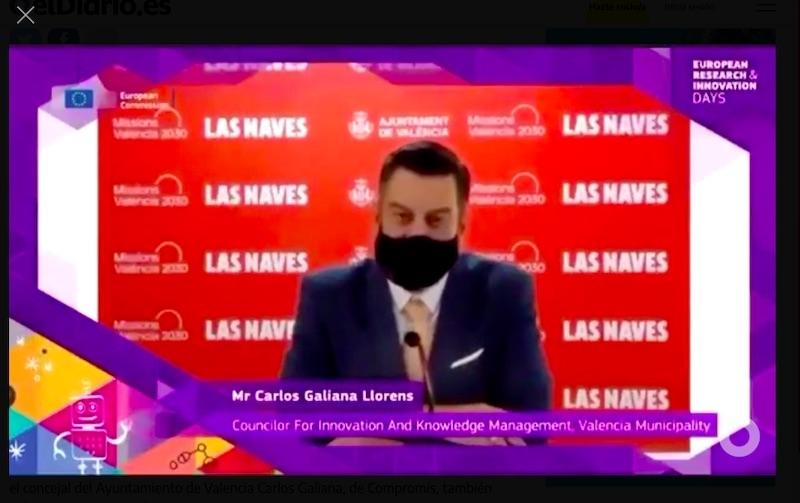 Kommunalrådet Carlos Galiana i Valencia, höll sitt tal inför EU-kommissionen på en felfri engelska med brittisk accent. Det var dock inte han själv som pratade.