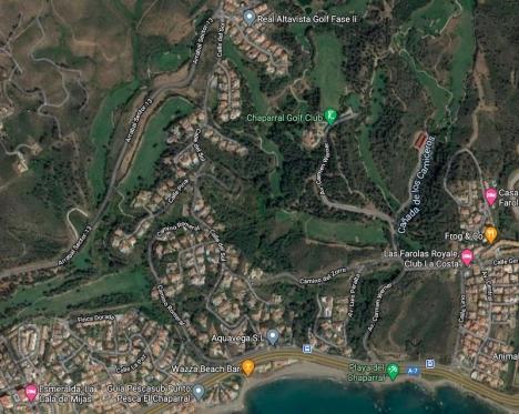 Rånförsöket inträffade i området El Chaparral, Mijas Costa. Foto: Google Maps