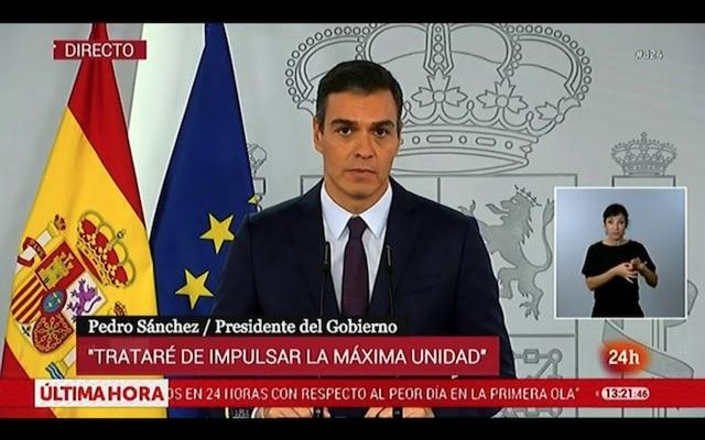 Pedro Sánchez höll ett tv-tal 23 oktober, där han uppmanade befolkningen till nya uppoffringar för att åter pressa ned smittkurvan. Foto: RTVE