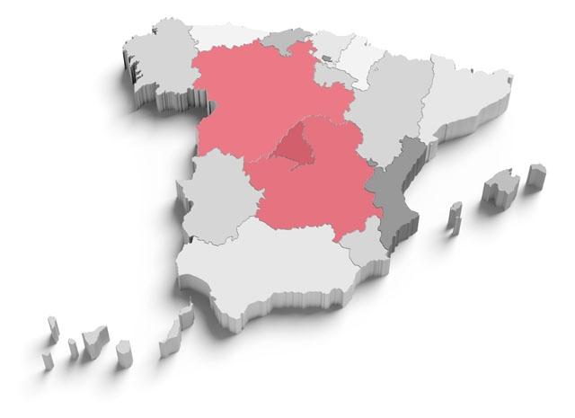 Isoleringen av hela den spanska högplatån har avtalats av de tre regionalpresidenterna och gäller ej genomfart.