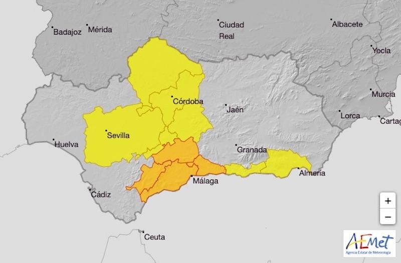 Det råder orange varning för intensiva regn torsdag 26 november i Málagaprovinsen. Foto: Aemet