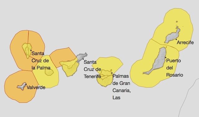 Varningskarta från väderlekstjänsten Aemet, för måndag 30 november.