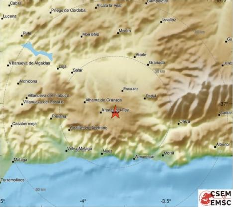 Skalvet hade sitt centrum i sydöstra Granadaprovinsen. Karta: EMSC