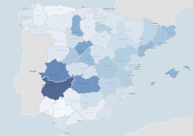 Smittfrekvensen i Spanien är nu uppe i 435,62 fall per 100.000 invånare, med upp till 700 fall delar av Extremadura och Balearerna. Karta: Ministerio de Sanidad
