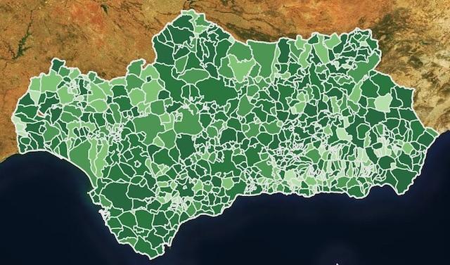 Kommuner som Marbella och Estepona överstiger nu också tusen smittfall per 100.000 invånare och tvingas införa lock down, från och med 27 januari. Karta: Junta de Andalucía